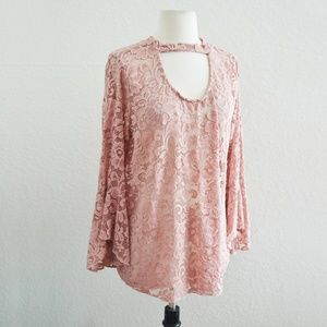Tops - Pink Lace Bell Sleeve Layering Top Size XXL